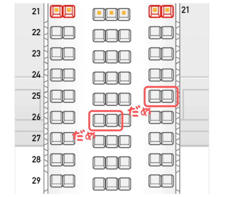 飛行機の座席図 隣り合う2席に大人+子供の2セットは座れない